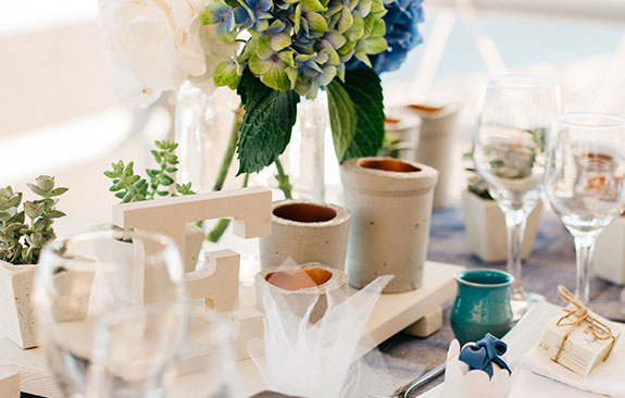Hydrangea Blue Wedding in Santorini